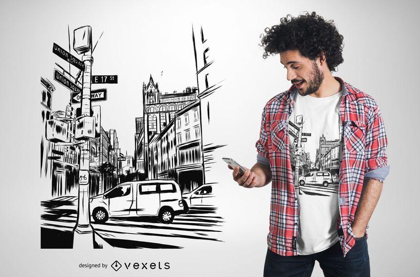 Diseño de camiseta de ilustración de Nueva York