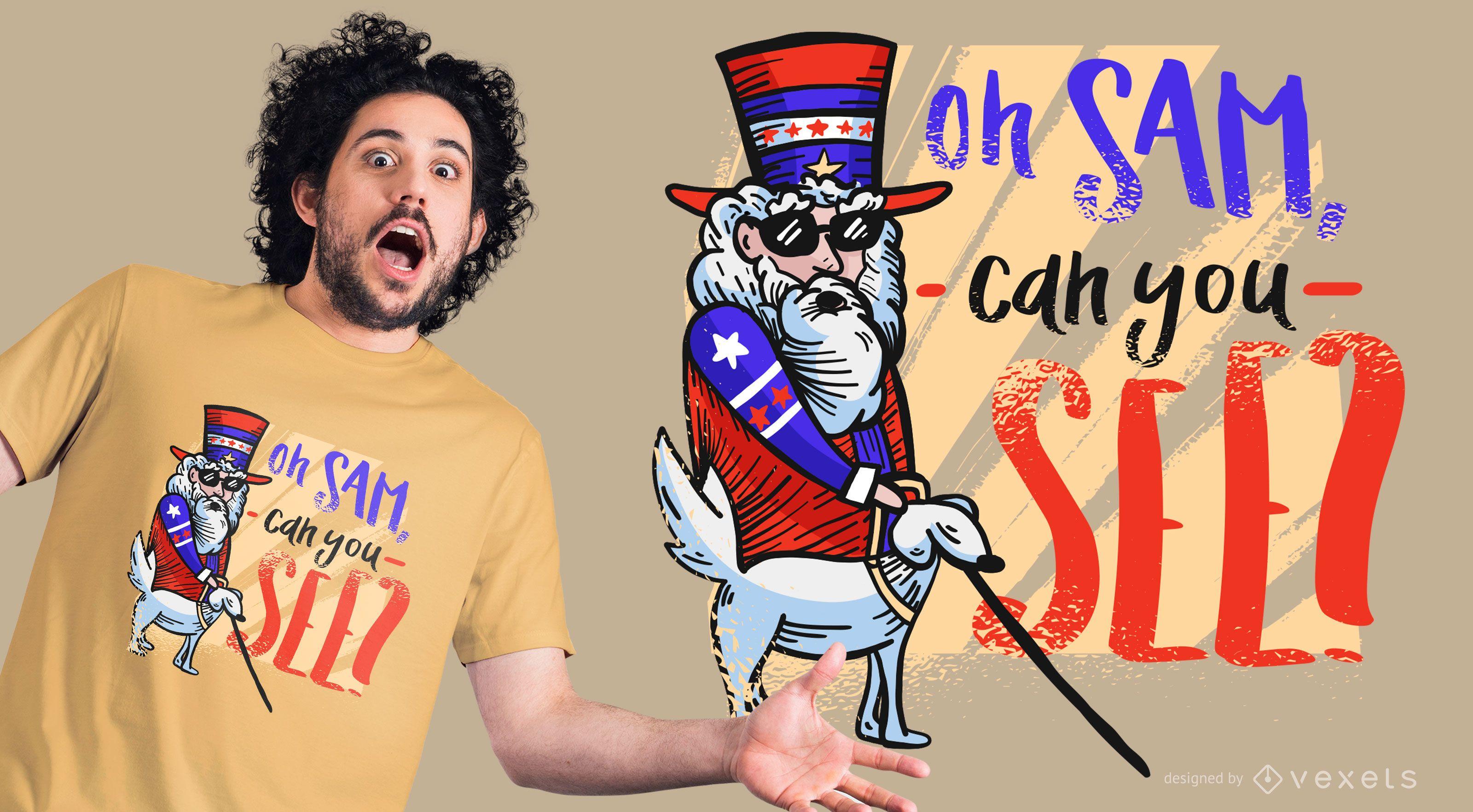 Diseño divertido de la camiseta del tío Sam