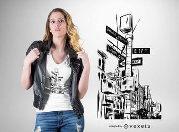 Diseño de camiseta de las calles de la ciudad de Nueva York.