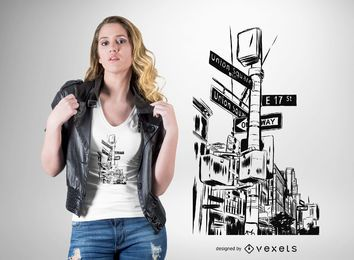 New York City ruas design de t-shirt