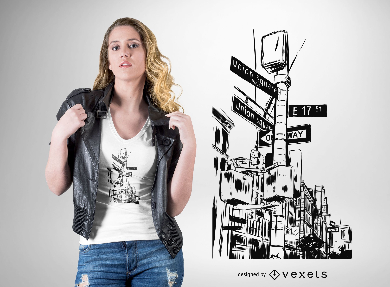 New York City streets t-shirt design