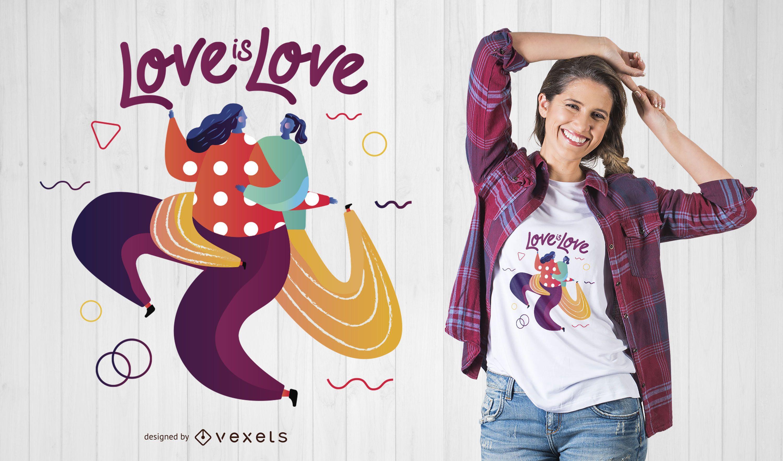 Diseño de camiseta de pareja de lesbianas
