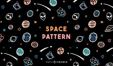Cute seamless alien galaxy pattern