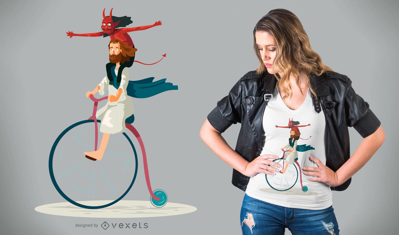 Devil and Jesus T-Shirt Design