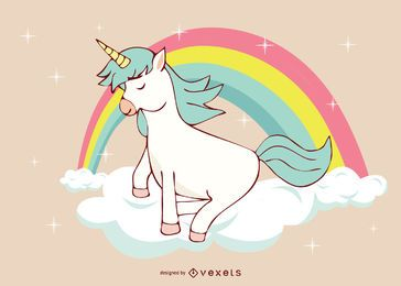 Cute Unicorn Rainbow Illustration