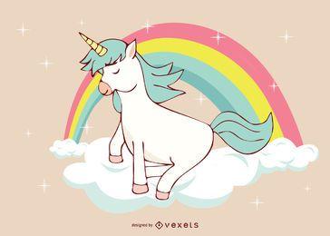 Ilustração Cute Unicorn Rainbow