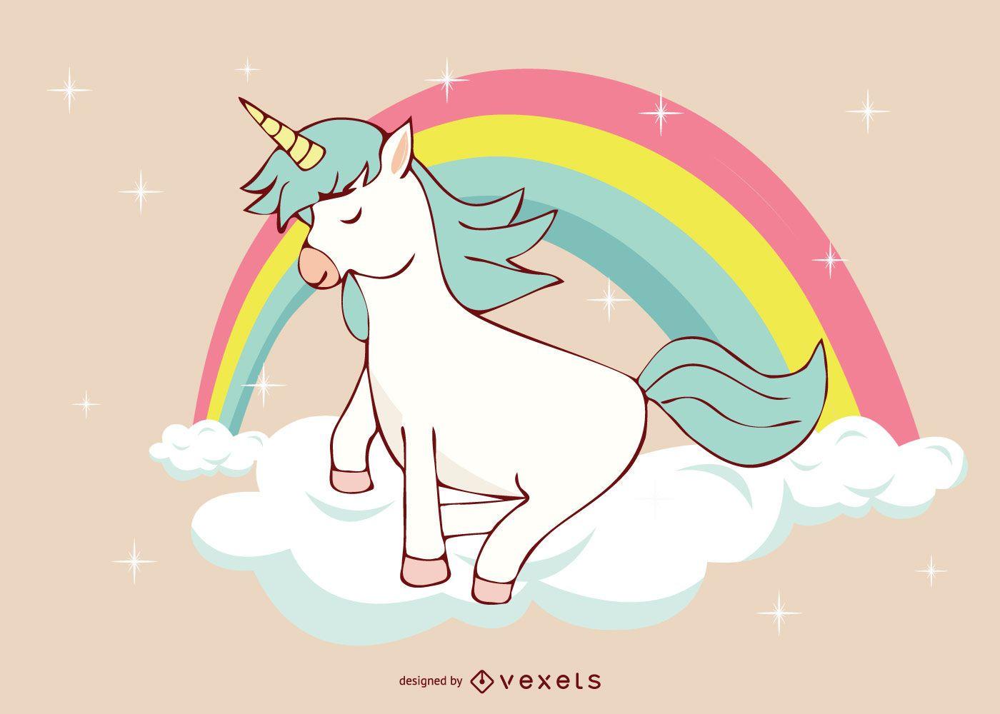 Ilustraci?n linda del arco iris del unicornio