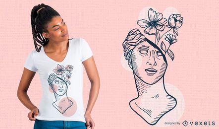 Diseño de camiseta de flores de escultura