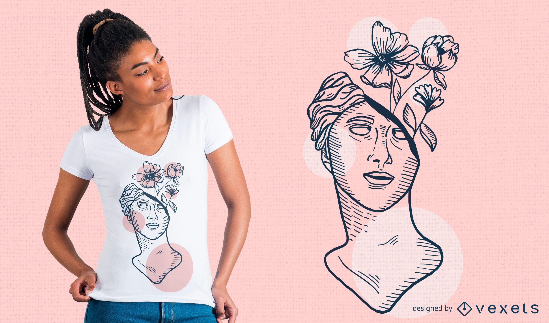 Diseño de camiseta Sculpture Flowers