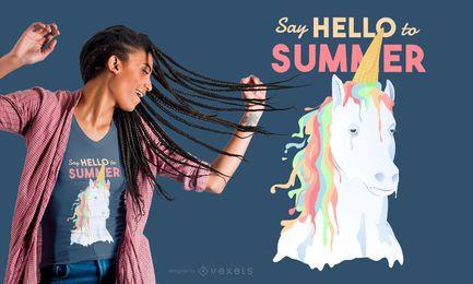 Diseño de camiseta de helado de unicornio de verano.