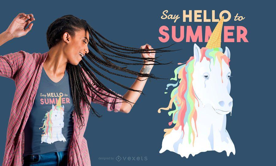 Diseño de camiseta de verano unicornio