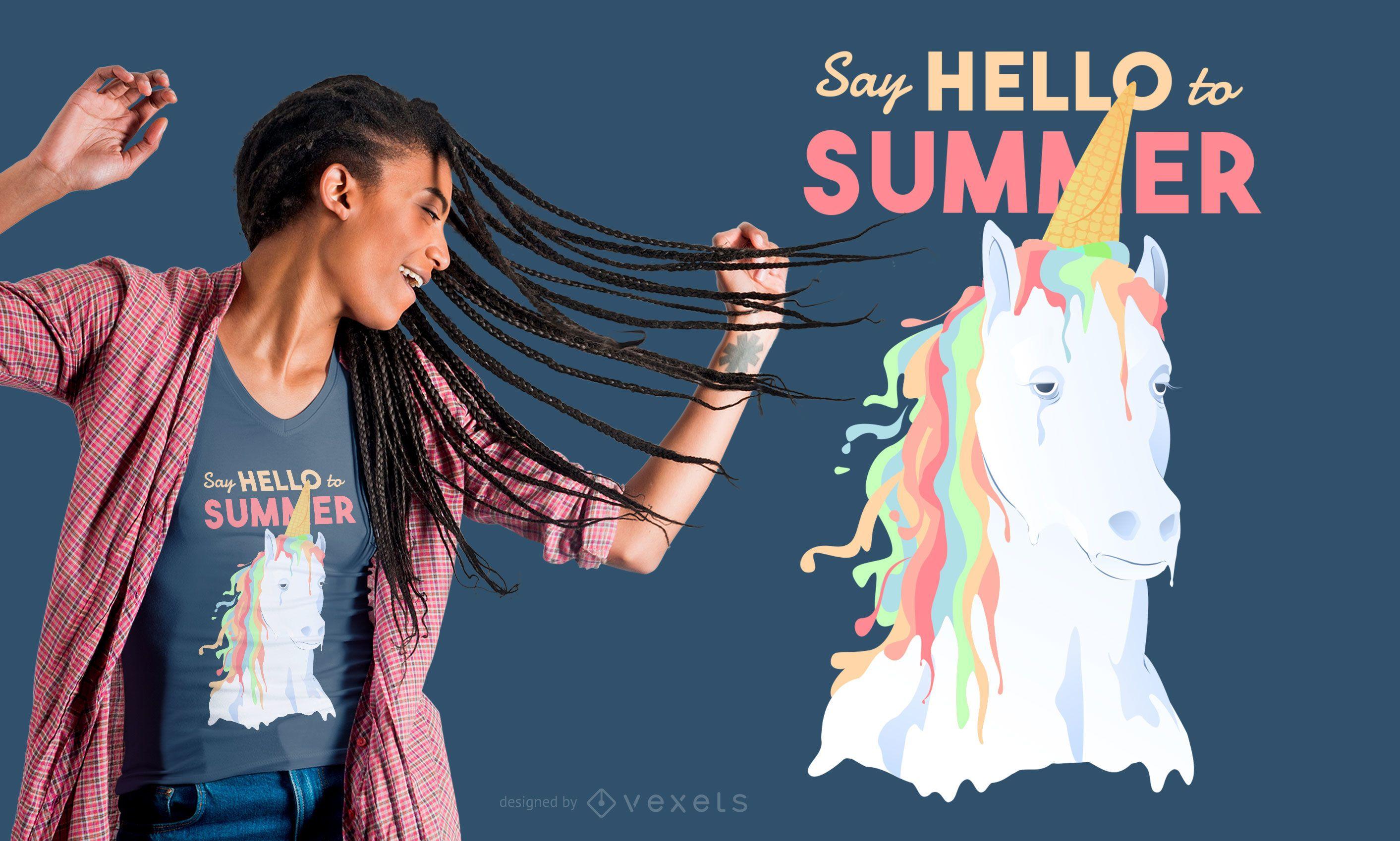 Diseño de camiseta de unicornio de verano