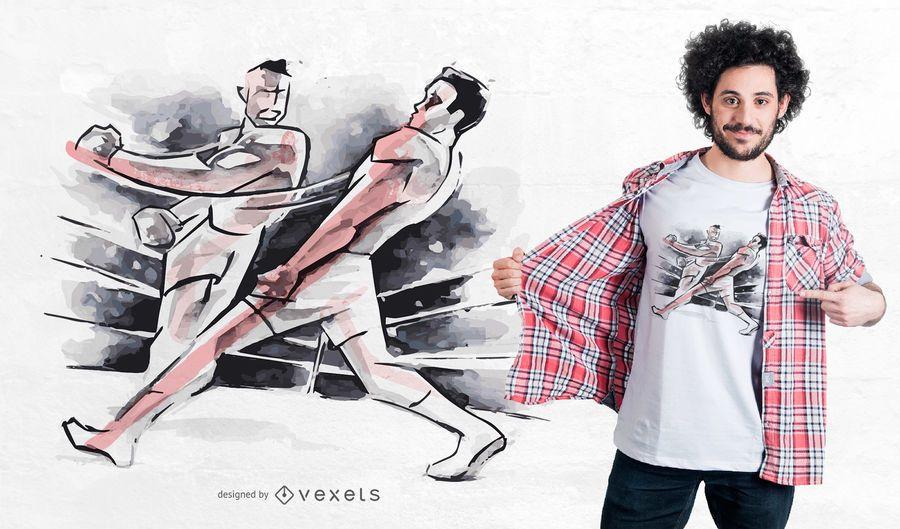 Projeto do t-shirt da luta do encaixotamento