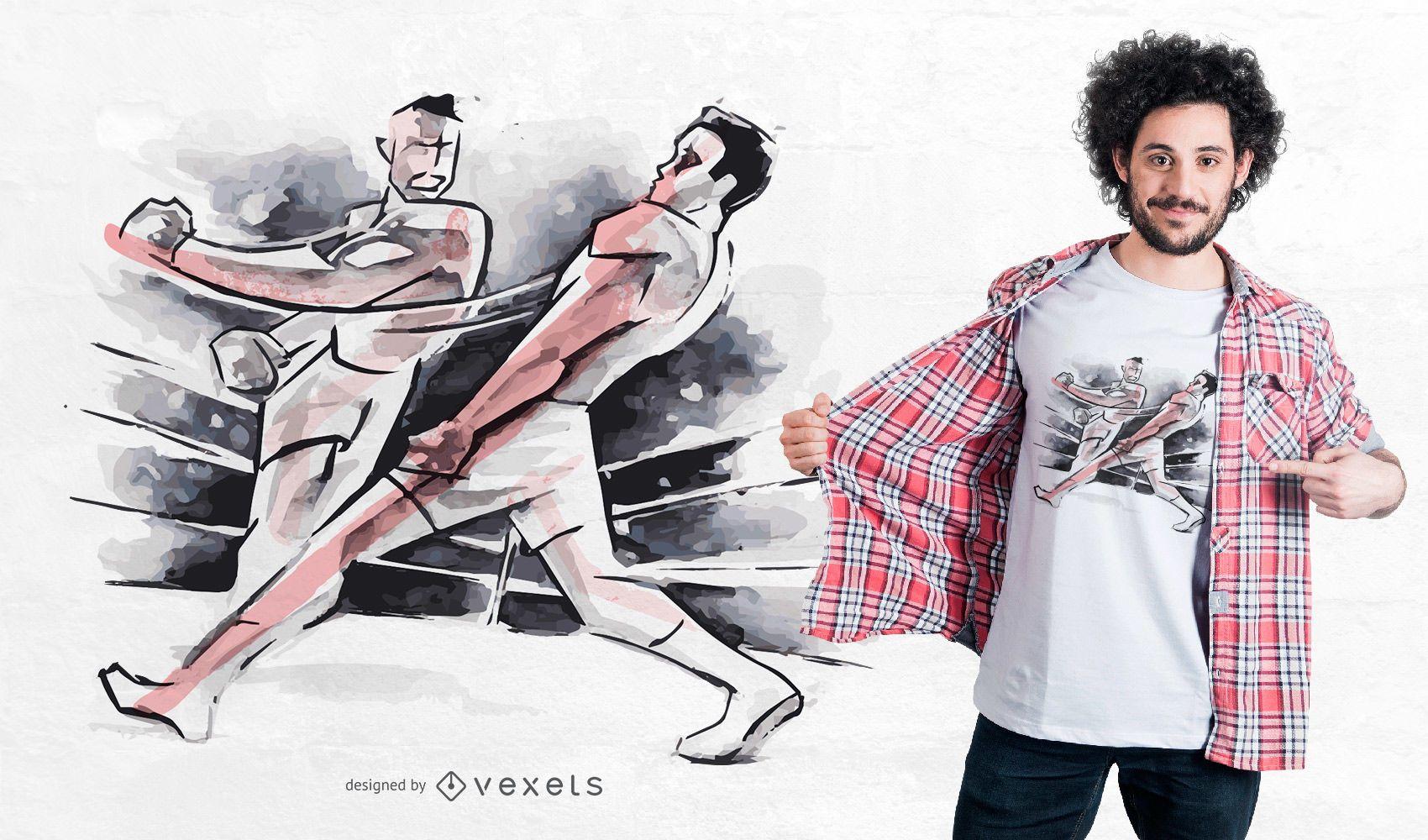 Diseño de camiseta de lucha de boxeo