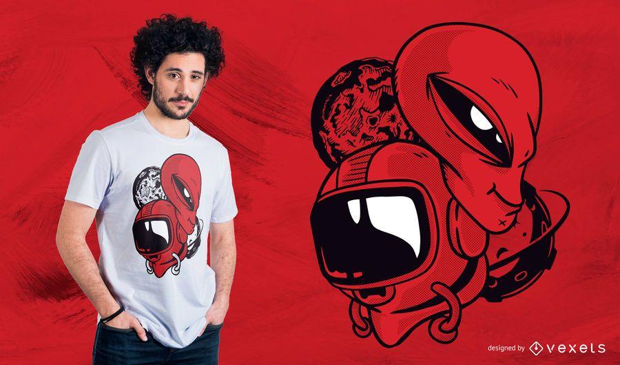 Projeto do t-shirt da cabeça do estrangeiro e do astronauta