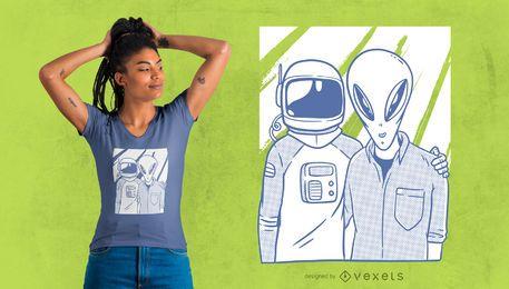 Diseño de camiseta de astronauta y amigos extranjeros