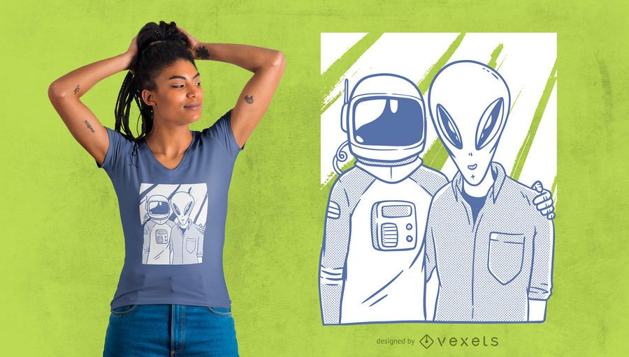 Astronaut and Alien Friends T-shirt Design