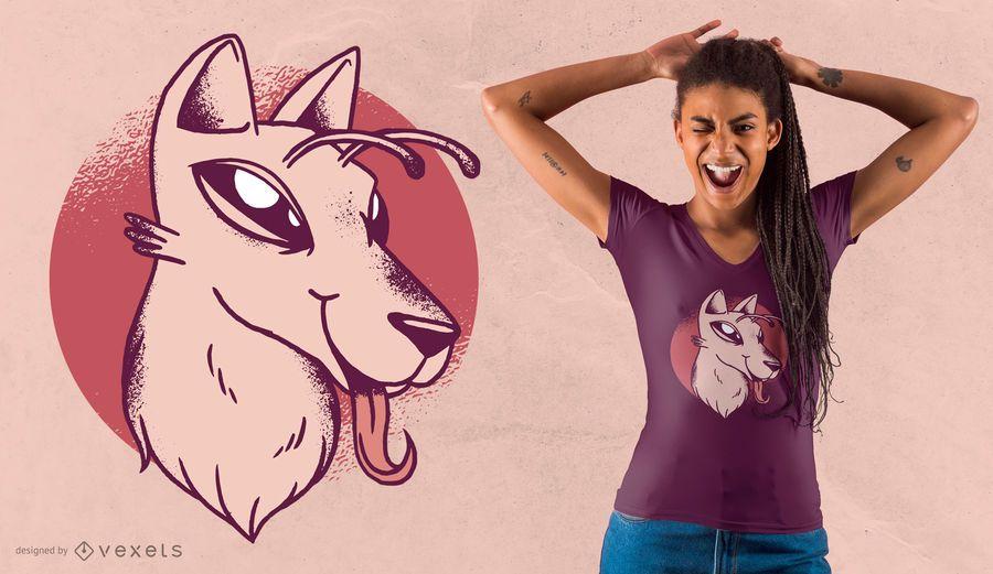 Diseño de camiseta de perro extranjero