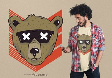 Diseño de camiseta cool bear sunglasses.