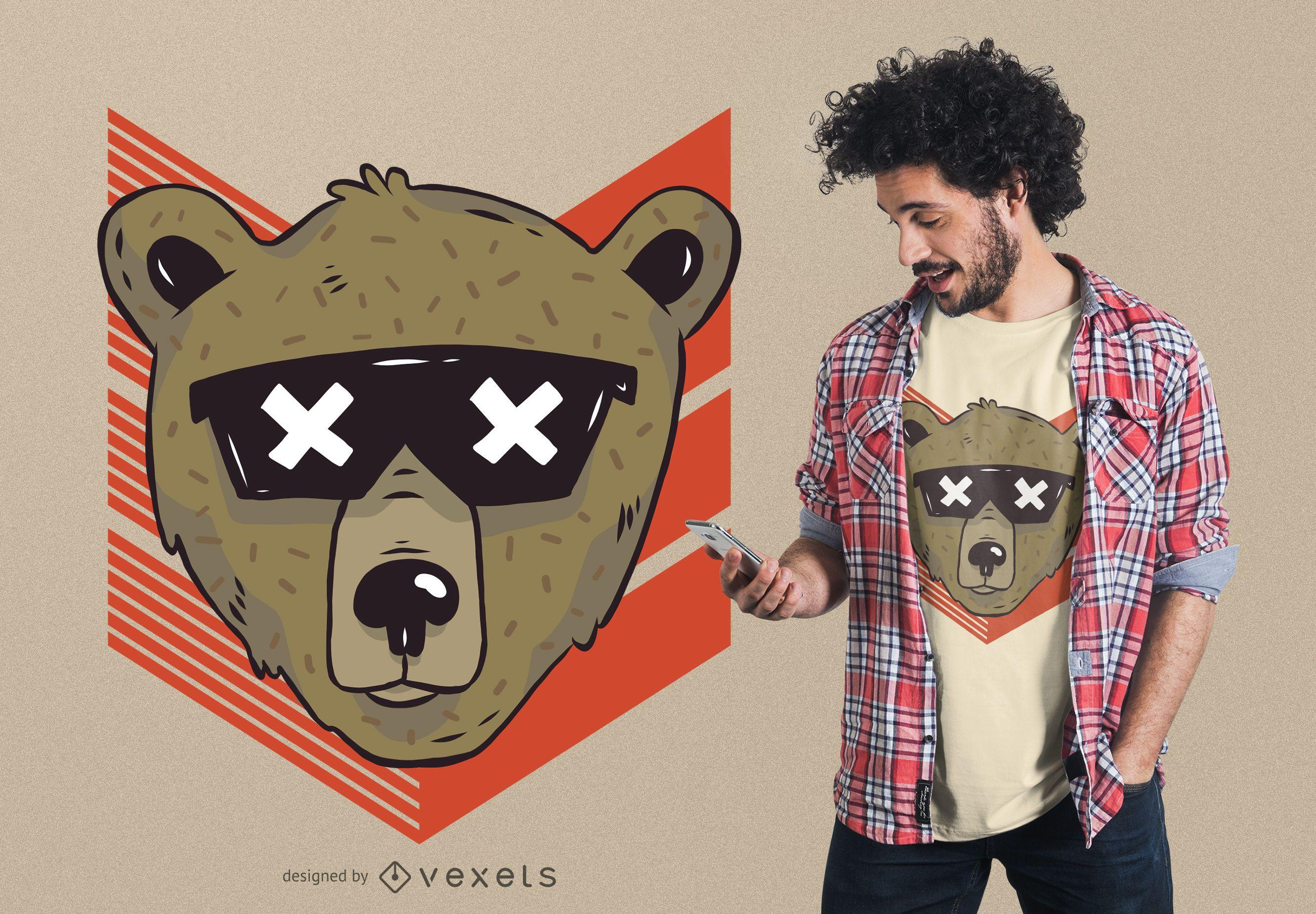 Cool bear sunglasses t-shirt design