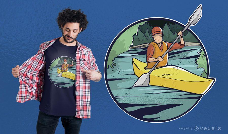 Diseño de camiseta de kayak.