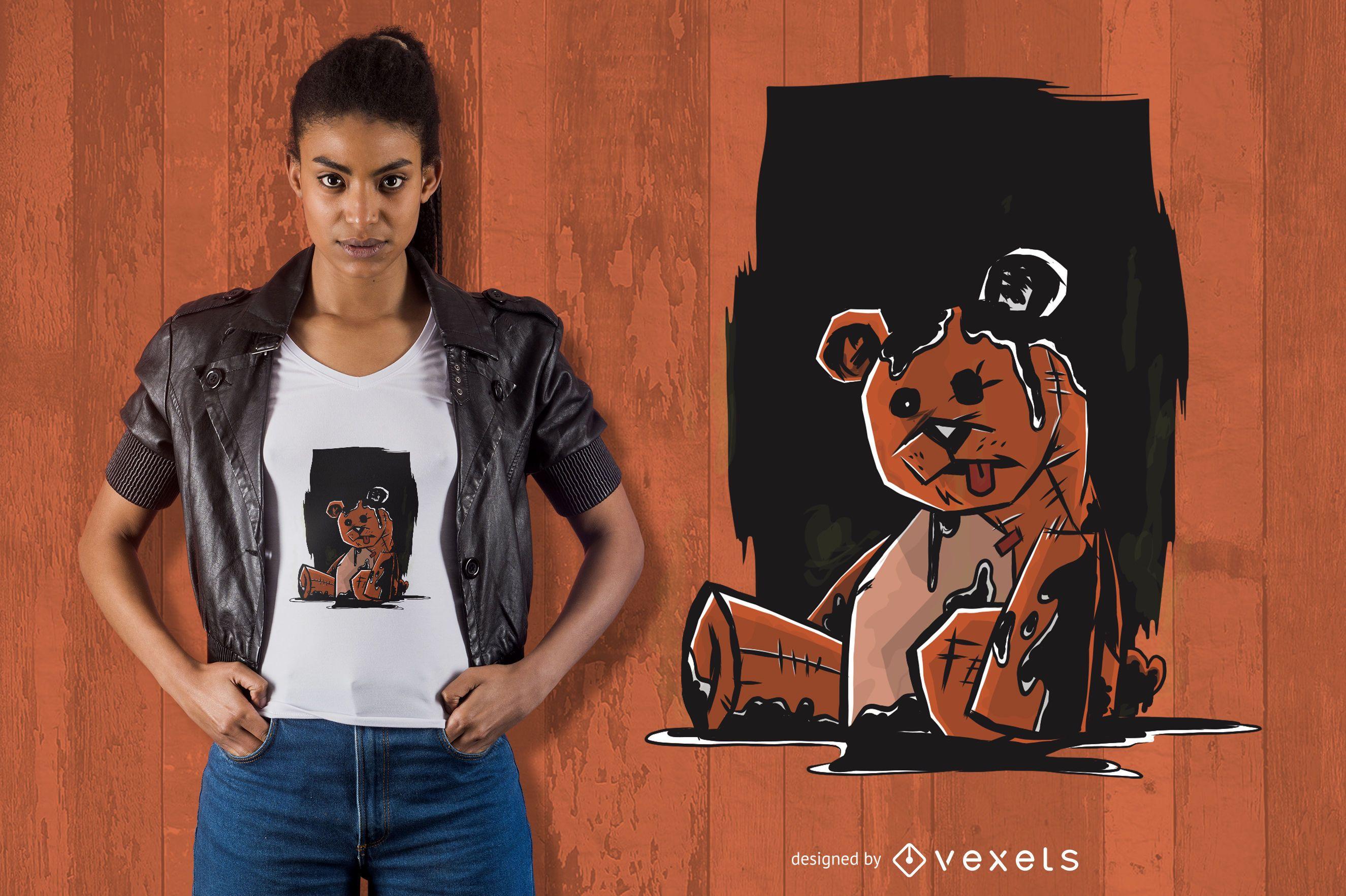 Diseño de camiseta de oso de peluche oscuro