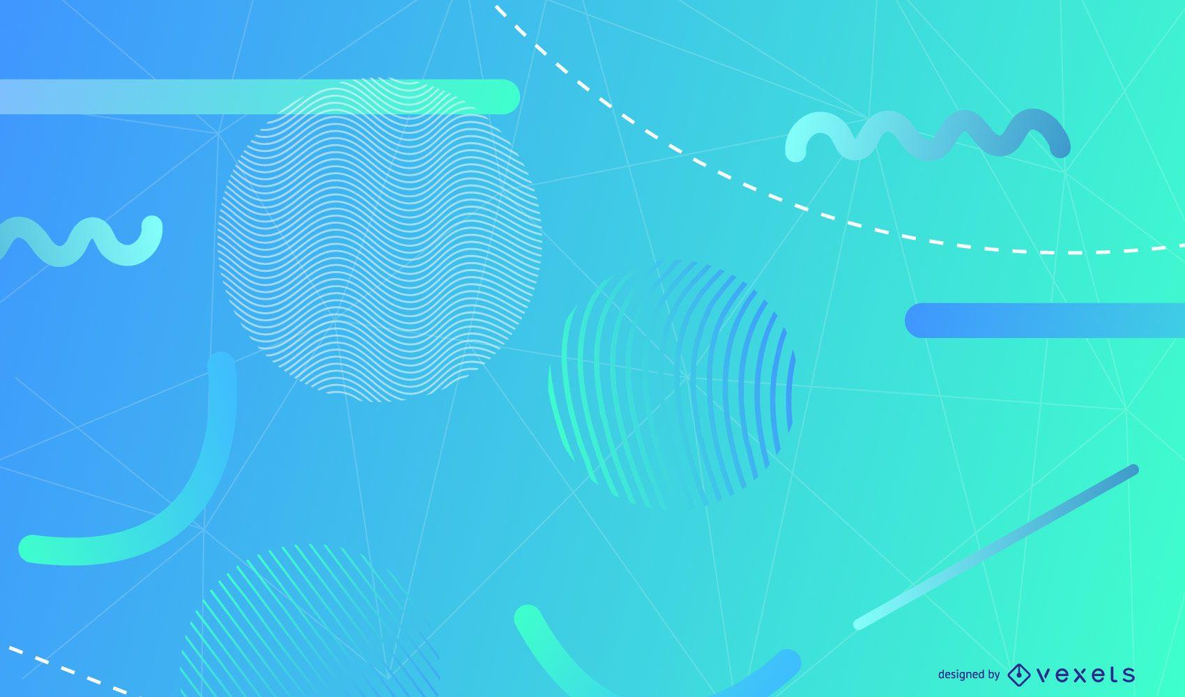 Formas geométricas fundo azul claro