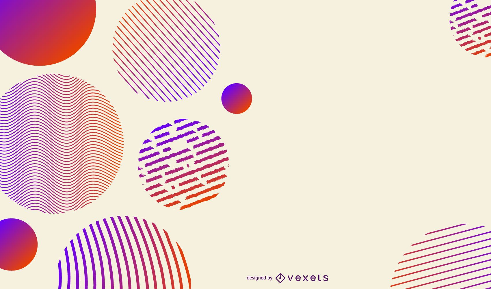 Striped gradient circles background
