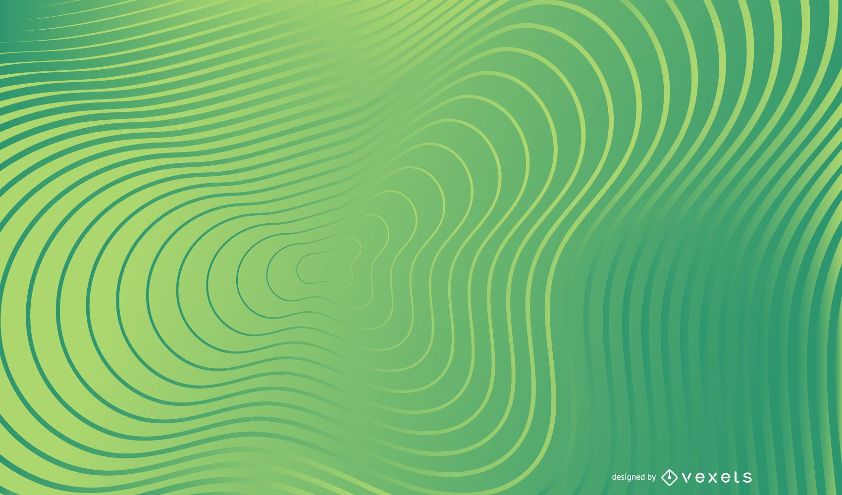 Green wavy lines abstract background
