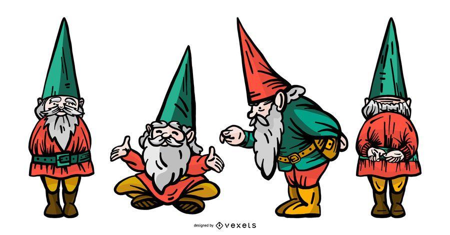 Gnome Graphic Illustration Set