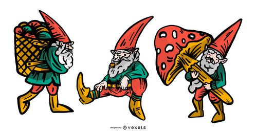 Gnome-Illustrations-Vektor-Satz