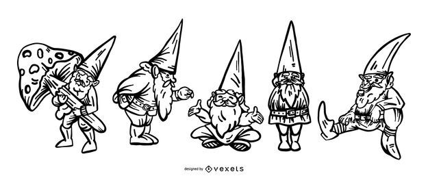 Hand drawn gnomes set