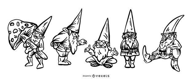 Hand drawn gnomes set