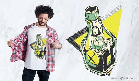 Diseño de camiseta de botella de veneno
