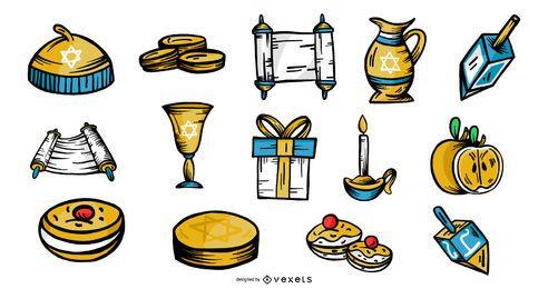 Paquete de vectores de elementos de Hanukkah