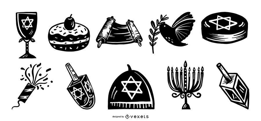 Conjunto de silueta de elementos de Hanukkah