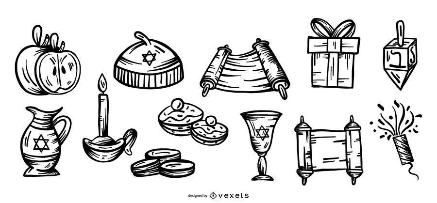 Paquete de vectores de elementos de trazo de Hanukkah