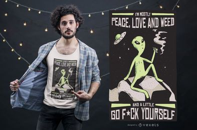 Diseño de camiseta Alien Weed Quote