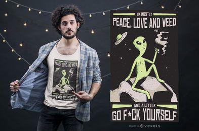 Projeto estrangeiro do t-shirt das citações da erva daninha