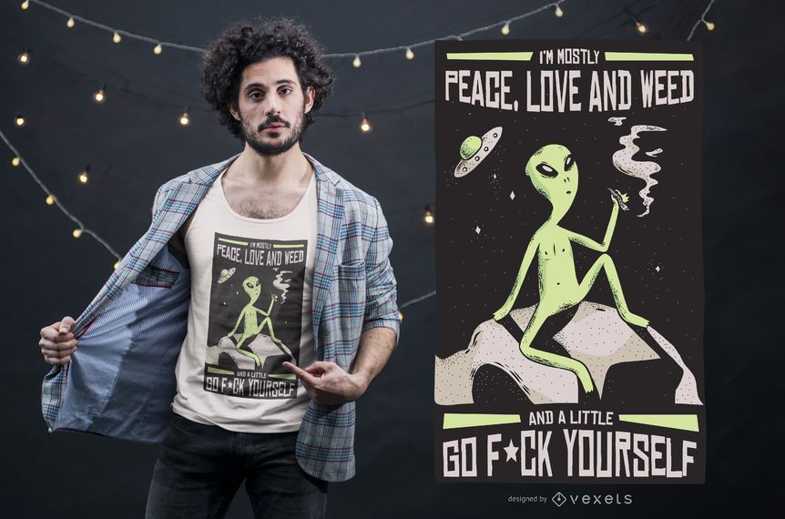 Alien Weed Quote T-shirt Design