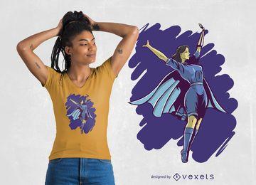 Design de t-shirt mulher super-herói
