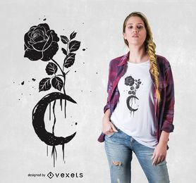 Rosa preta e design do t-shirt da lua