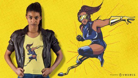 Paralympischer Superheldin-T-Shirt Entwurf