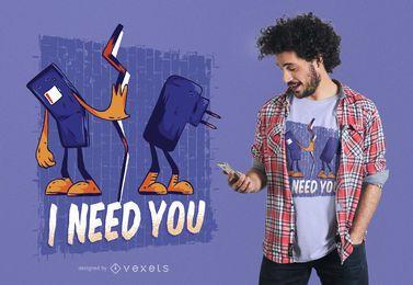 Projeto do t-shirt dos desenhos animados do telefone e do carregador