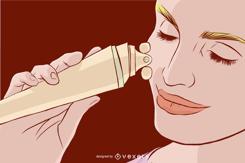 Ilustração de massagem de rosto
