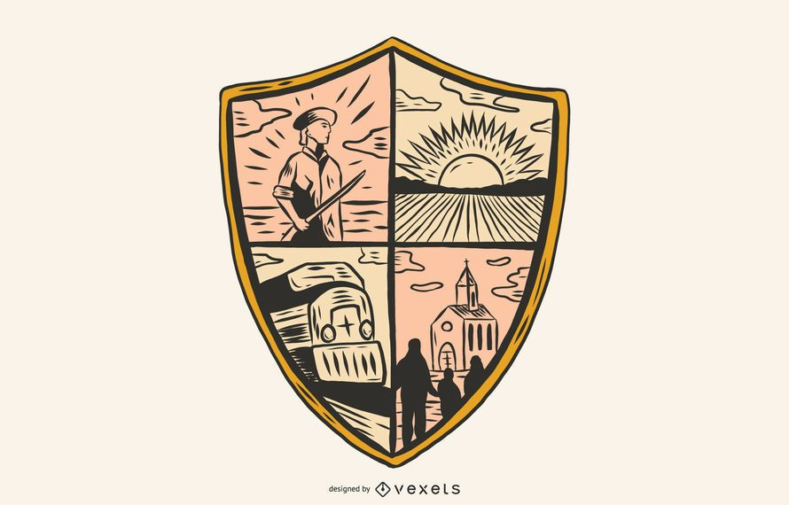 Ilustração de escudo de logotipo