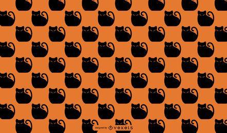 Desenho de padrão de gato preto de Halloween
