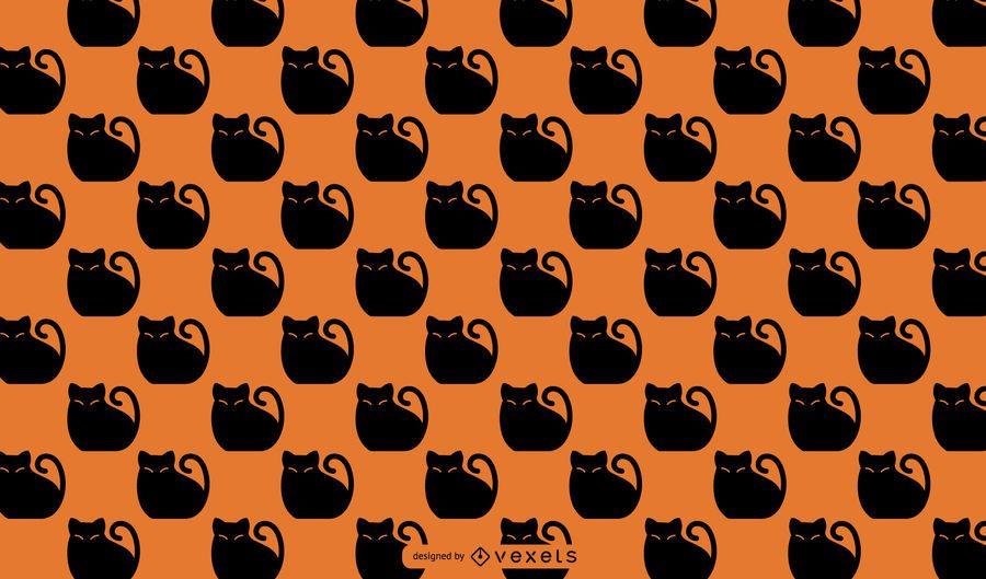 Halloween black cat pattern design