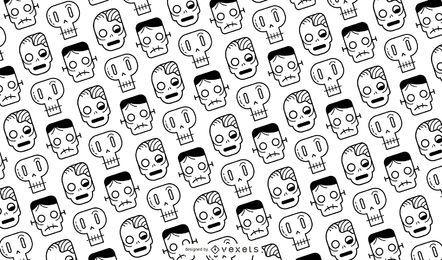 Diseño de patrón de calaveras y zombies