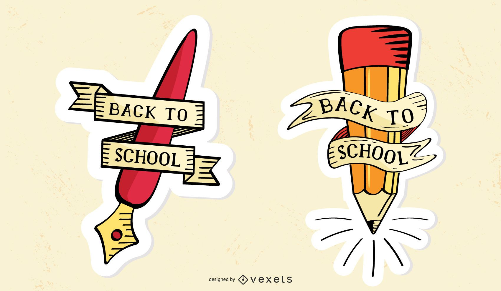 Set of back to school stickers
